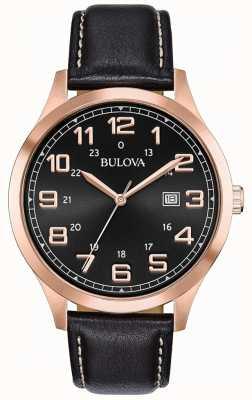 Bulova Herrenuhr Uhr schwarzes Leder Roségold Ton Gehäuse 97B164