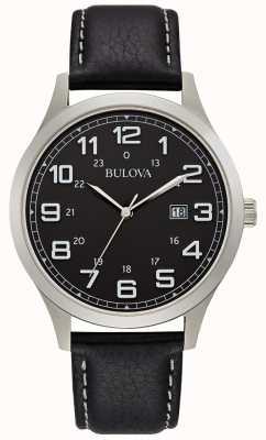 Bulova Herren Kleid Uhr schwarz Leder Stahlgehäuse 96B276