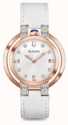 Bulova Womans rubaiyat weißes Lederband-Diamantset 98R243