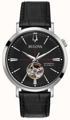 Bulova Männer automatische schwarze Lederuhr 96A201