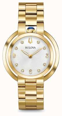 Bulova Womans rubaiyat Goldton Diamantuhr 97P125