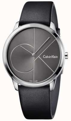 Calvin Klein Unisex Minimal Uhren schwarz Lederband K3M211C3