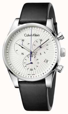 Calvin Klein Unisex standhaftes Chronograph schwarzes Leder K8S271C6