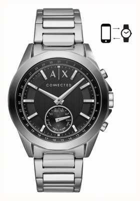Armani Exchange Mens Hybrid Smartwatch Edelstahl Armband schwarzes Zifferblatt AXT1006