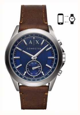 Armani Exchange Mens Hybrid Smartwatch braun Lederarmband blaues Zifferblatt AXT1010