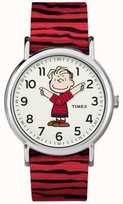 Timex Weekender Erdnüsse Linus roter Riemen TW2R412006B