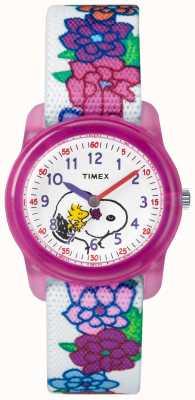 Timex Jugend analoger weißer Gurt snoopy Blumen TW2R41700JE