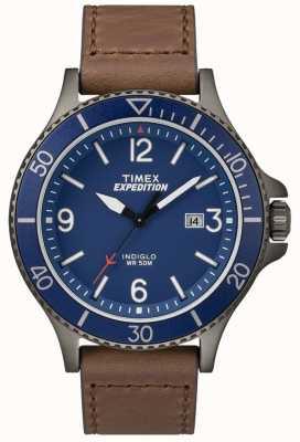 Timex Expedition Ranger braun Lederarmband blaues Zifferblatt TW4B10700