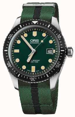 Oris Mens Taucher fünfundsechzig grüne Nato Strap 01 733 7720 4057-07 5 21 25FC