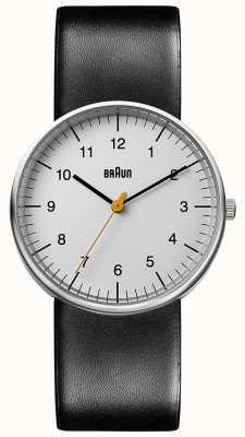 Braun Unisexuhr aus schwarzem Leder, minimalistisch BN0021BKG