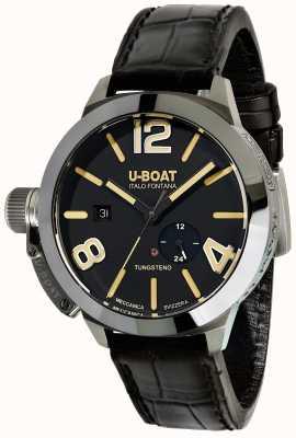 U-Boat Stratos 45 bk automatisches schwarzes Lederarmband 9006