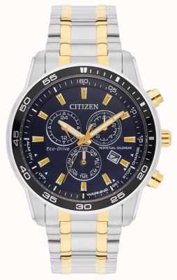Citizen Eco-drive zweifarbig schwarzes Zifferblatt Herrenarmband BL5514-53L