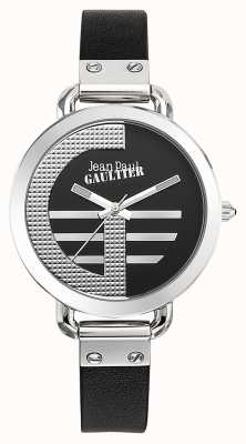 Jean Paul Gaultier Damen Index g schwarzes Lederarmband schwarzes Zifferblatt JP8504315