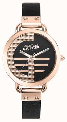 Jean Paul Gaultier Damenindex g braunes Lederarmband schwarzes Zifferblatt JP8504325
