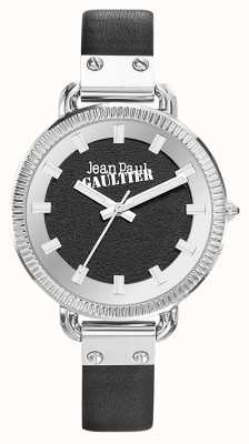 Jean Paul Gaultier Damen Index schwarzes Lederarmband schwarzes Zifferblatt JP8504312