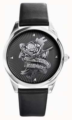 Jean Paul Gaultier Navy Tatoo schwarzes Lederarmband schwarzes Zifferblatt JP8502412