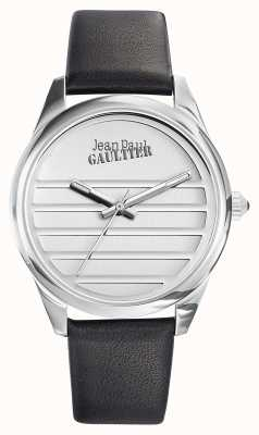 Jean Paul Gaultier Marine schwarzes Lederarmband weißes Zifferblatt JP8502408