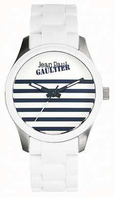 Jean Paul Gaultier Enfants terribles weißes Kautschuk Stahlarmband weißes Zifferblatt JP8501120