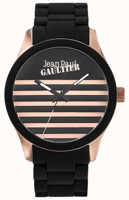 Jean Paul Gaultier Enfants terribles schwarzes Kautschukarmband schwarzes Zifferblatt JP8501122
