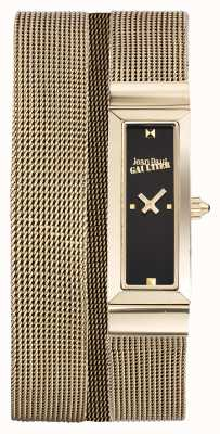 Jean Paul Gaultier Damen cote de maille gold pvd Mesh Armband schwarzes Zifferblatt JP8503903