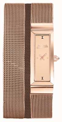 Jean Paul Gaultier Damen Cote de Maille Roségold Pvd Mesh Armband Rosen Zifferblatt JP8503906