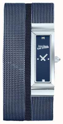 Jean Paul Gaultier Damen Cote de Maille blaues pvd Mesh Armband blaues Zifferblatt JP8503904