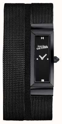 Jean Paul Gaultier Damen cote de maille schwarz pvd Mesh Armband schwarzes Zifferblatt JP8503905