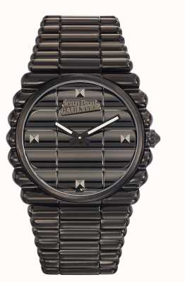 Jean Paul Gaultier Mens bord cote schwarz PVD Armband schwarzes Zifferblatt JP8504203