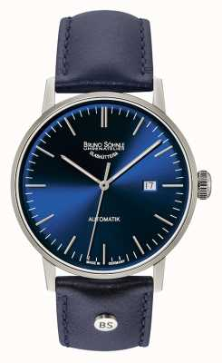 Bruno Sohnle Stuttgart große automatische 44mm blaue Lederuhr 17-12173-341
