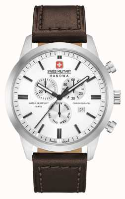 Swiss Military Hanowa Herren Chrono Classic braunes Lederarmband 06-4308.04.001