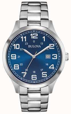 Bulova Mens Dress Watch blaues Zifferblatt Edelstahlarmband 96B273