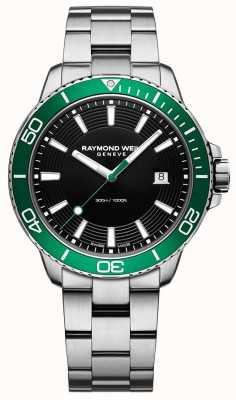 Raymond Weil Tango grüne Lünette Edelstahl Uhr 8260-ST7-20001