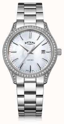 Rotary Damenuhr aus Edelstahl in Weiß LB05092/41