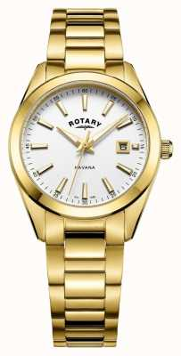 Rotary Womens havana vergoldete weiße Uhr LB05081/02