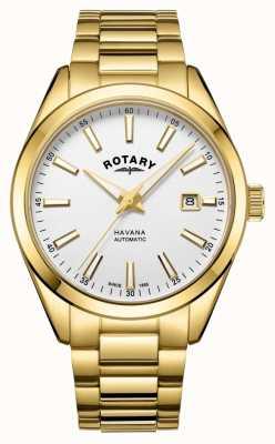 Rotary Herren Havana Silber Weiß Edelstahl Uhr GB05081/02