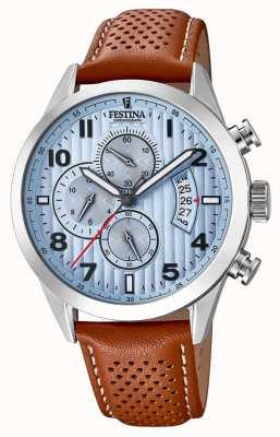 Festina Herren Sport Chronograph Uhr braun Lederband F20271/4