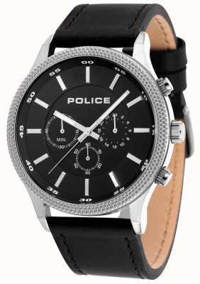 Police Mens Pace schwarz Lederband schwarzes Zifferblatt 15002JS/02