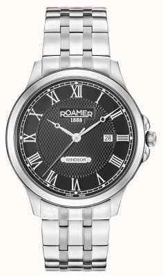 Roamer Mens windsor schwarzes Zifferblatt Edelstahlarmband 706856415270