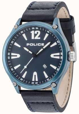 Police Mens denton blau Gehäuse blau Zifferblatt Lederarmband 15244JBBL/03