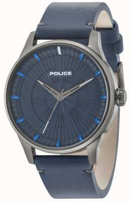 Police Herren Jet 3 Hände blaues Lederband 15038JSU/03