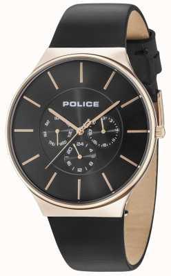 Police Seattle Roségoldgehäuse schwarzes Zifferblatt schwarzes Lederarmband 15044JSR/02