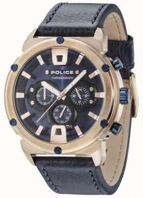 Police Armor II Roségoldgehäuse dunkelblaues Zifferblatt dunkelblaues Armband 15047JSR/03
