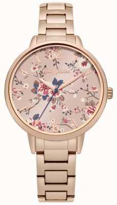 Cath Kidston Roségold-Armband mit floralem rosa Zifferblatt CKL038RGM