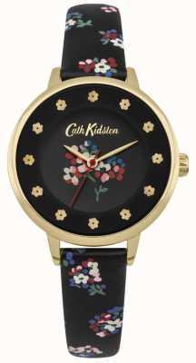 Cath Kidston Schwarzes Zifferblatt Blumendrucke Blume Stundenmarker Goldgehäuse CKL040BG