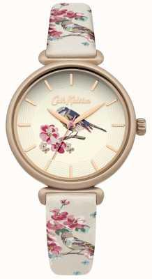 Cath Kidston Blumenvogeldruckband mit floralem Brid-Zifferblatt, vergoldetes Gehäuse CKL041EG