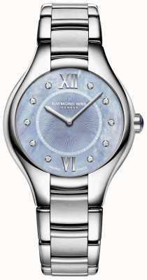 Raymond Weil Womens Noemia Diamant Edelstahl Armband blaues Zifferblatt 5132-ST-00955