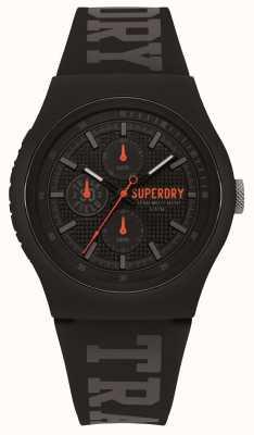Superdry Graues, schwarzes Silikonarmband SYG188BB