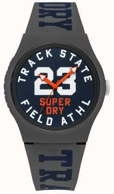 Superdry Track State Print Zifferblatt blau Gesicht grau Band SYG182UE