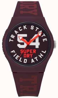 Superdry Track Zustand Druck Zifferblatt Maulbeere Gesicht Maulbeerband SYL182RR