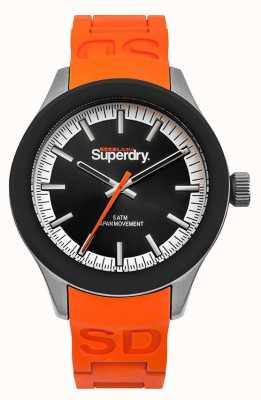 Superdry Scuba schwarzes Zifferblatt orange Silikonband SYG211O